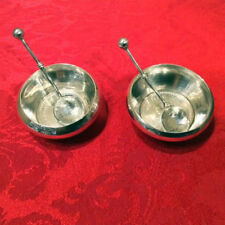 PAIR Silver Individual Salt Dishes w/ Spoons – 1944 & 1945 George VI Coins