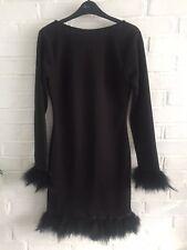 SALE! RARE LONDON/TOPSHOP Jet Black  Marabou Feather Bodycon Dress 10 RRP £50