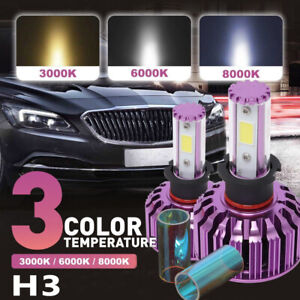 2XH3 LED Headlight Bulb Fog Beam Light 3/6/8K Driving Lamp 120W 32000LM W/Canbus