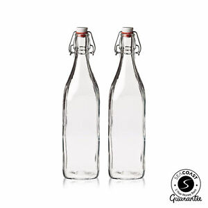 /prueba de salpicaduras y reutilizable/ Cuadrado Swing Top botellas de vidrio con cepillo de limpieza/ /250/ml//8.4oz /juego de 7/piezas/