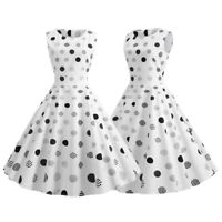 Women 1950s Vintage Polka Dot Sleeveless Swing Dress Evening Cocktail Party Prom