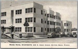 Daytona Beach, Florida Postcard RENEE HOTEL APARTMENTS Ocean Avenue 1950s Unused