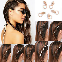 5/10Pcs Gold Silver Hip-Hop Braid Hand Cross Shell Star Ring Hair Clip Accessory
