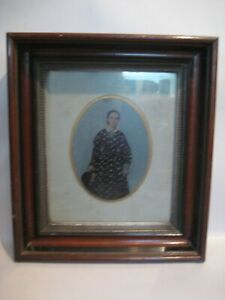 Victorian Antique Picture Wood Frame 10 x 12 Opening hand tinted Tintype
