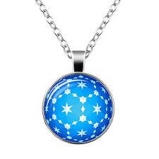 Stile Vintage Vetro Ciondolo sfera blu e bianco stelle percorso Collana n450