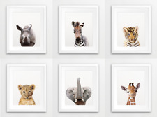 Nursery Safari Zoo Animals Portrait Prints A4 Baby Children's Bedroom Set of 6