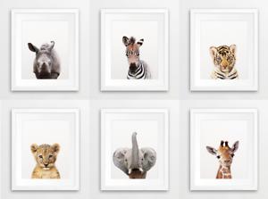 Nursery Safari Zoo Animals Portrait Prints A4 Baby Children's Bedroom Set of 6