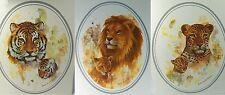"""Set 3 Animal Art Prints Doris Scott Nelson Lion Leopard Tiger & Cubs 10 x 12"""""""