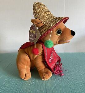 "Chantilly Lane 10"" Pancho Animated Sings Feliz Navidad Chihuahua Christmas Plush"