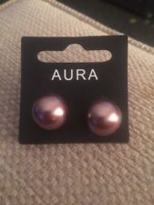 Aura Glass Pearls Bronze Earrings