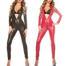 Sexy Black Red Bodysuit Wet Look Catsuit Zentai Jumpsuits Romper Zip Playsuit