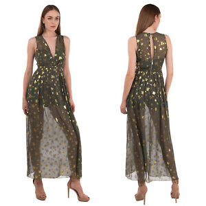 MANGANO Empire Line Dress Size 42 / M Silk Blend Lame Stars Made in Italy