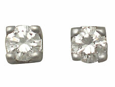 0.25 ct Diamond and 18 ct White Gold Stud Earrings - Vintage Circa 1990