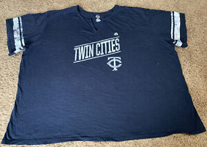 "Majestic Minnesota Twins Rare ""Twin Cities"" Logo MLB Adult Unisex 4X Tee T-Shirt"