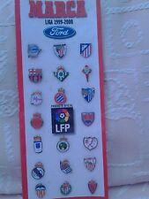 La Liga 1999-2000 club pin badges sponsored by Ford [20 badges on card display]