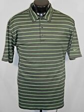 Nike Golf Mens Fit Dry Polo Shirt Large Pinstriped Short Sleeve Poly