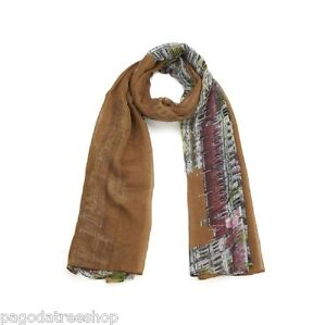 New Lightweight Retro 1930s Look Italian Cityscape Print Scarf in Brown or Pink