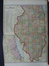 Illinois State Map, 1905 George F. Cram, Original Color N1#49