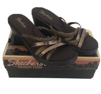 Skechers Cali Memory Foam Rumblers Wild Child Wedge Sandals Bronze NIB Size 10
