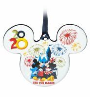 Disney Parks 2020 Mickey Minnie Pluto Ears Christmas Holiday Disc Ornament NEW