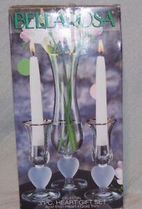 Bellarosa for the Home Celestial 3 Pc Heart Gift Set Acid Etch Heart Gold Trim