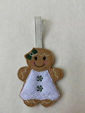 Girl Embroidered Gingerbread Man w/Green Dress Ornament