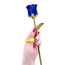 Crystal Glass Rose Flower 24K Gold Plated Long Stem Love Mothers Day Gift Blue