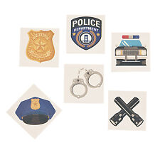 36 Police DEPT COPS temporary tattoos CUFFS BADGE CAR HAT birthday Party Favor