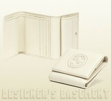 b763fed119c GUCCI ivory SOHO Leather Interlocking G French Trifold wallet NIB Authentic   450