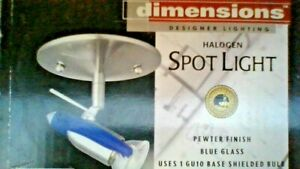 DIMENSIONS -  HALOGEN SPOT LIGHT BLUE GLASS  OR USE THE FORSTED GLASS