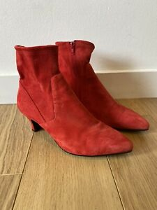 Gorgeous Women's Russell & Bromley Red Suede Ankle Boots UK 6.5 39.5 Worn Once