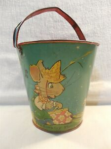 Vintage 1930s Ohio Art Fern Bisel Peat Country Mouse & City Mouse Tin Sand Pail