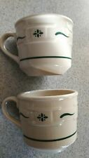 Longaberger Pottery lot of 2 Woven Traditions Green 8 oz cups/mugs NEW