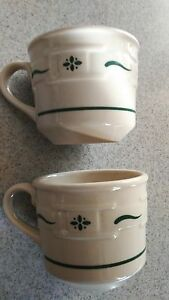 Longaberger cups/mugs Pottery lot of 2 Woven Traditions Green 8 oz  NEW
