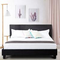 Queen Size Upholstered Linen Platform Bed Frame Headboard w/Wood Slats Gray