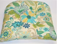 """Resort Spa Outdoor Wicker Seat Pad ~ Yellow Blue Floral ~ 19"""" x 20"""" x 4.5"""" NEW"""