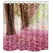 Bathroom Shower Curtain Pink cherry blossom Waterproof Fabric 71*71 inch & Hooks