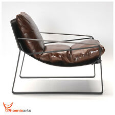 Vintage Relaxing Armchair Lounge Leather Braun Retro Real Chair 457