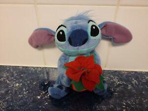 "NEW Disney STITCH Poinsettia Flower Christmas Plush Stuffed Animal 6"" Lilo and"