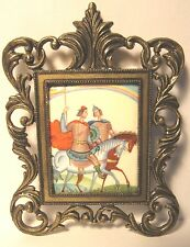 "RARE VINTAGE ENAMEL MINIATURE HAND PAINTED ""TWO RUSSIAN KNIGHT"" ON COPPER"