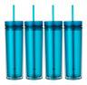 Set of 4 Tall Skinny Acrylic Tumbler Double Wall 16 Oz (Aqua Color)