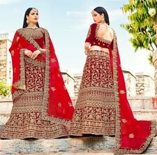 Designer Wedding Wear Red Velvet Lehenga Choli Set Party Indian Bridal Lengha