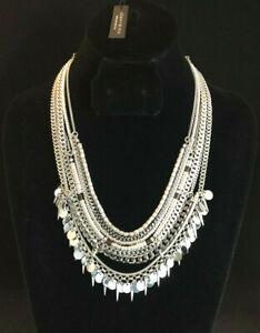 Jenny Bird Necklace Silver Layered Chains Statement Tribal Spikes Bib Boho #4028