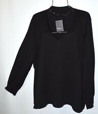 Womens Plus 3X Black Sweater Embellished V-Neck Long Sleeve Knit Top Blouse