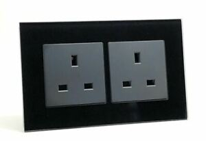 illucio 2 Gang 13 Amp Unswitched Electrical Plug Socket in Black