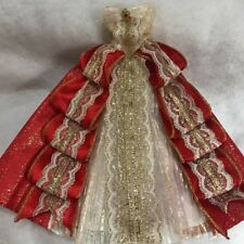Barbie 1997 Happy Holiday Barbie Doll Red White Gold Glitter Dress Replacement