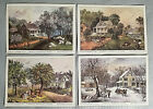 """Complete Set Currier & Ives Lithographs """"American Homestead"""" Seasons, NY Museum"""