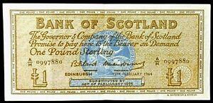 BANK of Scotland  £1 POUND BANKNOTES -12th/FEB'/1964*Prefix A/H*  NOTES X 1