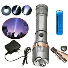 High Power 900000LM T6 LED Flashlight Focus Outdoor Torch Light 18650+Charger