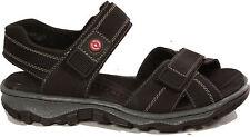RIEKER Schuhe Trekking Sandalen Sandaletten Leder Klettverschlu�Ÿ schwarz NEU